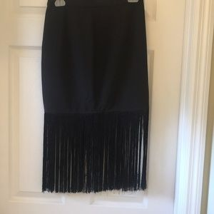 Frayed black midi skirt